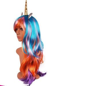 Unicorn Cosplay Wig PONY Cute Animation Accessories Party Wig Colorful - Toyopia