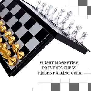 Folding Magnetic Travel Chess Set For family Chess Board Game 25x25cm (Gold&Silver Chess Pieces) - Toyopia
