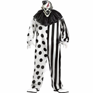 Halloween Party Men Killer Clown Costume Role Play Killer Clown with Latex Mask Party Costumes - Toyopia
