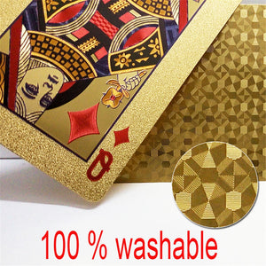 Entertain Golden Playing Cards Deck Of Gold Foil Pokers Set Magic Cards 24K Gold Plastic Foil Pokers Durable Waterproof Cards - Toyopia