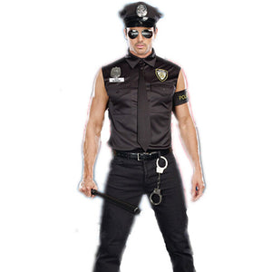 America U.S. Police Dirty Cop Officer Costume Top Shirt Fancy Cosplay Clothing for Men