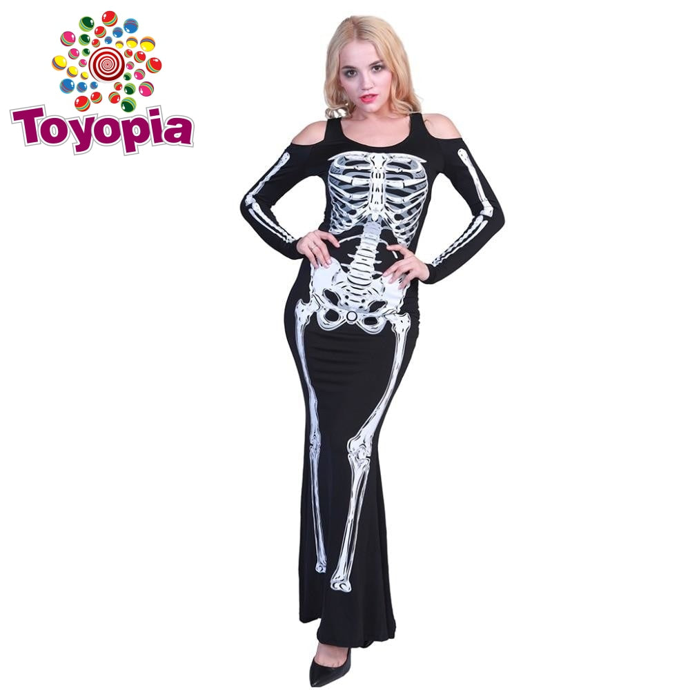 Halloween Costume For Women Scary Skeleton Costume Female Off The Shoulder  Plus Size Long Fancy Dress Bone Cosplay