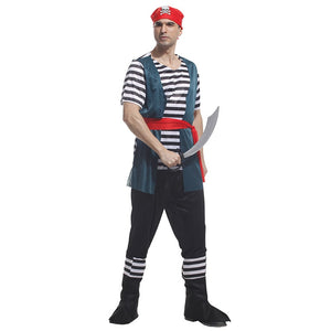 Men Halloween Pirate Costume Adult Men Navy Sailor Cosplay Carnival Fancy Party Dress Up Suit - Toyopia