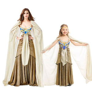 Ancient Egypt Egyptian Golden Cleopatra Queen of The Nile Costumes Halloween Mardi Gras Party Dress