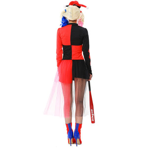 Amazing Harley Quinn Cosplay Costume Women Halloween Clown Costumes Carnival Fancy Party Dress Outfit