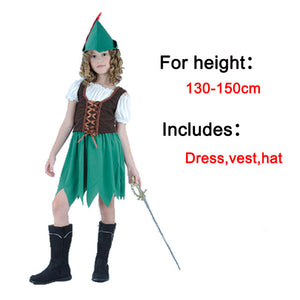 Peter Pan Costume Green Elves Cosplay Little Girl Halloween Carnival Party Dress Fairy Tales costume - Toyopia