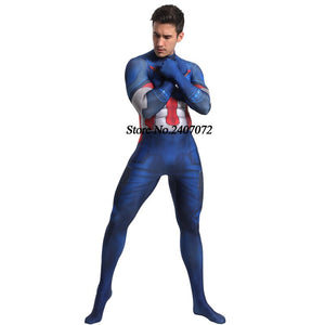 Marvel Movie 3D Digital Print Captain America Cosplay Siamese Tights Halloween Cosplay Costume Adult/Kids - Toyopia