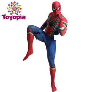 Avengers: Endgame Blue Spiderman Homecoming Cosplay Costume Zentai Iron Spider Man Superhero Bodysuit Suit Jumpsuits - Toyopia