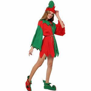Christmas Costume For Women Christmas Elf Costume Miss Santa Cosplay Dress New Year Party Fancy Dress Hat - Toyopia