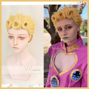 Cosplay JoJo's Bizarre Adventure Giorno Giovanna Golden Wig Cosplay Styled Hair Halloween Role Play - Toyopia