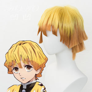 Japanese Anime Demon Slayer: Kimetsu no Yaiba mens Agatsuma Zenitsu cosplay wig boy orange short hair wig costumes - Toyopia