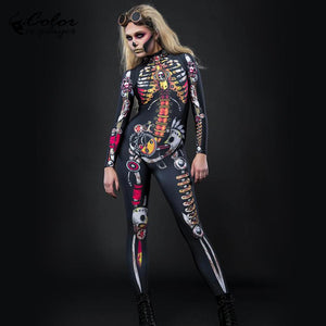 Color Cosplayer Steampunk Skeleton Bodysuit Skull Purim Festival Cosplay Costume Halloween - Toyopia