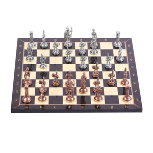 Historical Antique Copper Rome Figures Metal Chess Set, Handmade Pieces, walnut Patterned Wood Chess Board Small Size King 4.8cm - Toyopia