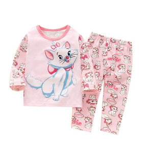 baby girls pajamas rabbits cats clothing sets long sleeve t-shirts+ pants - Toyopia