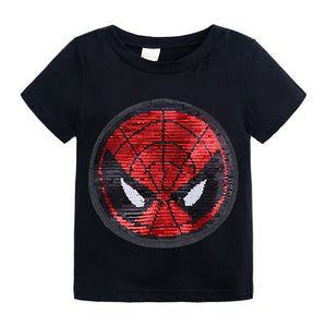 Kids Girls T shirts Summer Elsa Sequins For Spiderman T shirt Face Change Boys T Shirts - Toyopia