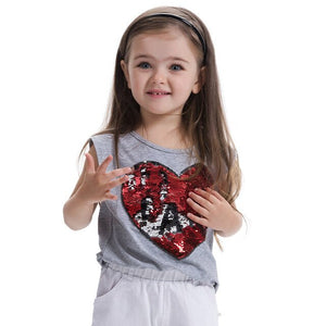 3-8 Yrs Girls Tops Cotton Summer T-shirts For Girls Sequins Baby Children - Toyopia