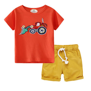 Boys Cartoon Tops+Pants Dinosaur Clothes - Toyopia