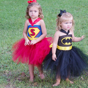 Super Hero Inspired Tutu Dress Halloween Birthday Party Costume Batman Superman Baby Girl - Toyopia