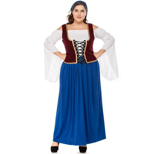 Large German Bavarian Oktoberfest Costume Disfraces Women Beer Maid Waiter Cosplay Fancy Long Dress Halloween - Toyopia