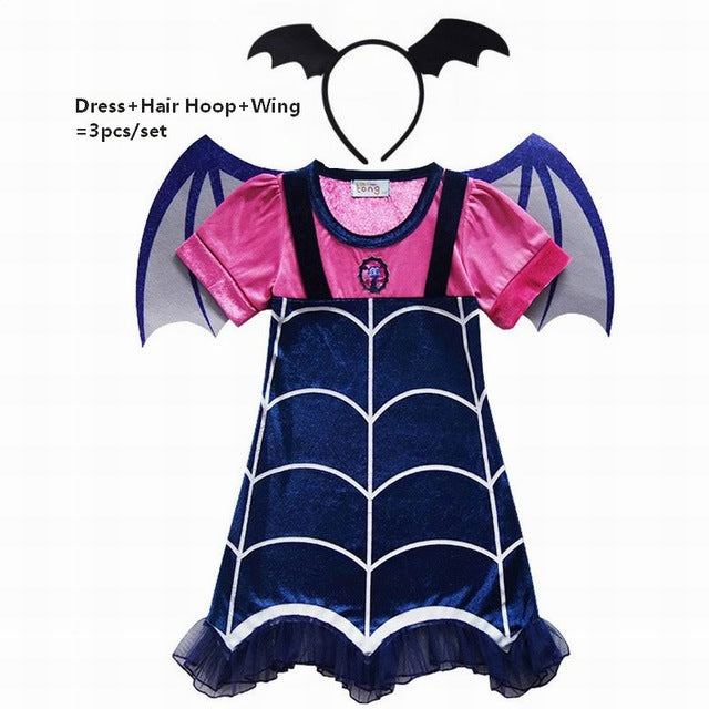 201ae4a94f048 Vampirina Cosplay Costumes Girls Dresses+Hair Hoop+Wing 3PCS Kids Fancy  Party Dress For Girl Streetwear Clothes
