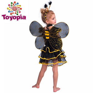 Cosplay Bumble Bee Cosplay 3 Piece Set Dress Wrings Headband Halloween Costume For Kids girls - Toyopia