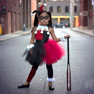 Harley Quinn Children Cosplay Costume Girls Tutu Dress with Headband Kids Party Dresses - Toyopia