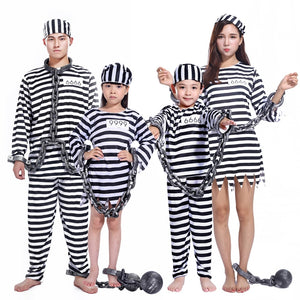 Prisoner Costume for Men Women Kids Child Family Prisoner Costumes Fancy Dresses Set - Toyopia