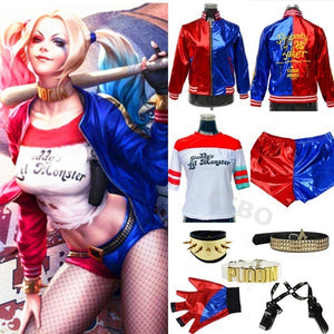 Movie Batman Suicide Squad Harley Quinn Clown Cosplay Costume Full Set Accessories Halloween Jacket Christmas - Toyopia