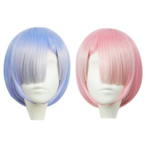 Graduated Color REM Cosplay Wig Or RAM Cosplay Wigs Re:Zero Starting Life In Another World Costume Play Halloween Costumes - Toyopia