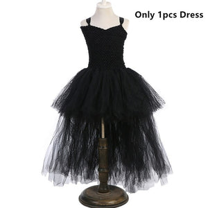 Black Angel  Dress with Long Tulle Tail - Toyopia
