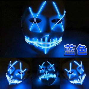 Scary Halloween Mask LED Light Up Party Masks Lighted Skull Horror Mask The Purge - Toyopia