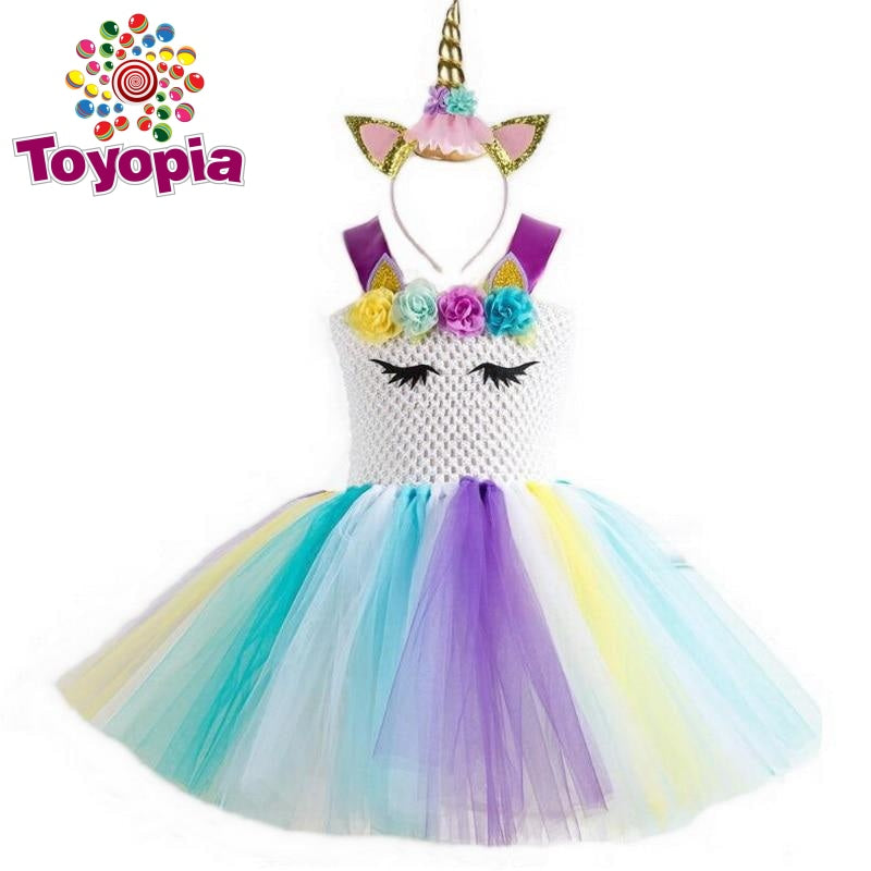 Toddler Girls Colorful Rainbow Tutu Dress Hair Hoop Party Fancy Costume Outfit