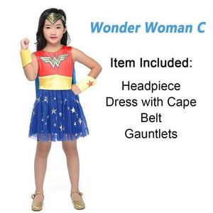 Superheros Girls Costume Batgirl Wonder Women Costumes Robin Supergirl Dress DC Superhero Costume for Kids - Toyopia