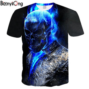 2018 Mens T shirts Fashion New Summer Men's Short Sleeve T-shirt Casual 3D blue skull Print Rock Tshirt For Man Full Printed - Toyopia