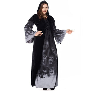 Death Grim Reaper Costume Sorceress Hooded Robe Forgotten Souls Costumes for Women Halloween - Toyopia