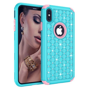 NOWSELLERS™  Luxury Fashion 360 Degree Shockproof Glitter Bling Diamond Texture Case For iPhone