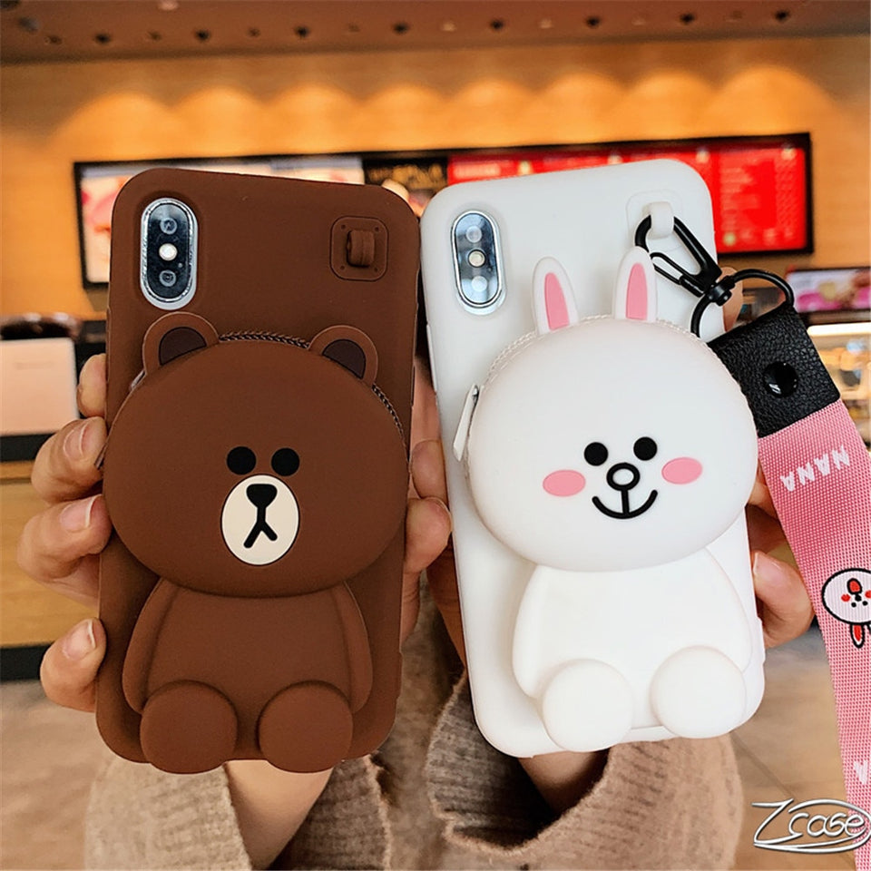Cute Cartoon 3D Bear Case For iPhone X XR XS Max 8 7 6 6S Plus - Now Sellers