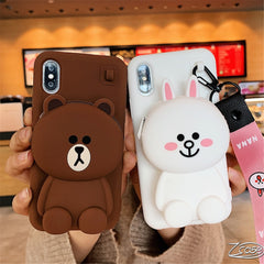 Cute Cartoon 3D Bear Wallet Soft Silicone Case For iPhone X XR XS Max 8 7 6 6S Plus Samsung Galaxy S8 S9 S10 Plus Note 8 9 Cover - first-sellers