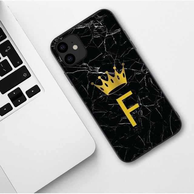 Letter Monogram Black Marble Gold crown Case For iphone 11 Pro Max 2019 iPhone X XR XS MAX 6 7 8 Pus - Now Sellers