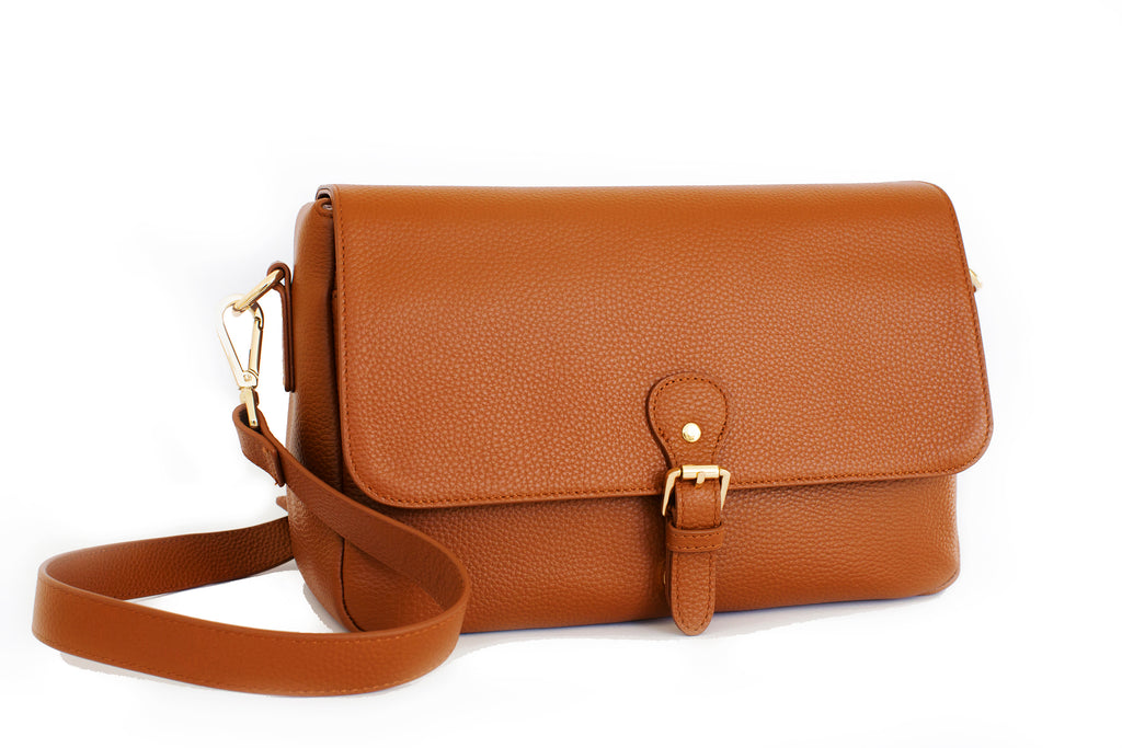 Mia Pebbled Leather Messenger Bag, Camera Purse in Tan