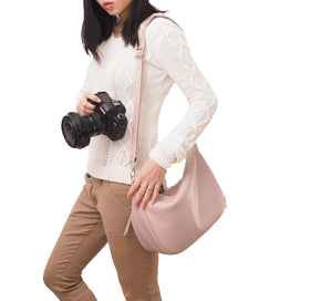 Madeline Pebbled leather Hobo Bag, Camera Purse in Pink