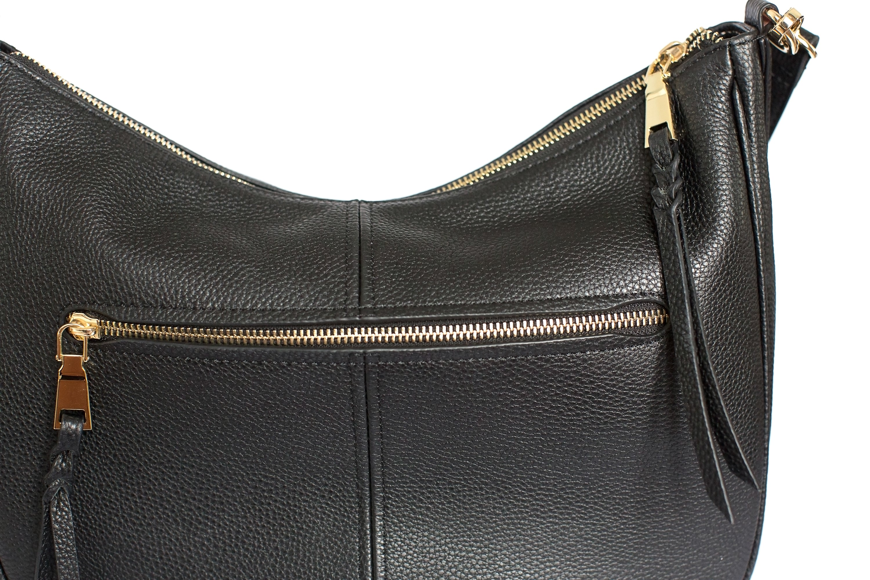 Madeline Pebbled Leather Hobo Bag, Camera Purse in Black