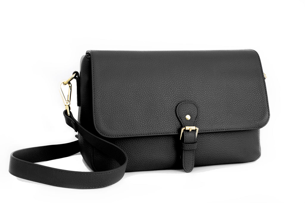 Mia Pebbled Leather Messenger Bag, Camera Purse in Black