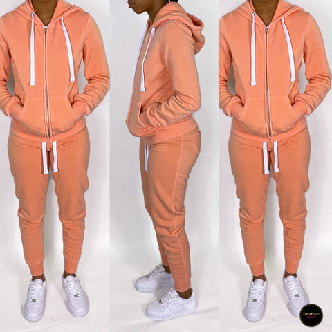 Brushed Jogging Set (Coral)