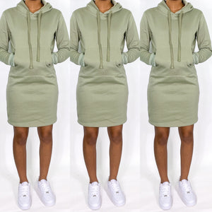 Light Olive Hoodie Dress