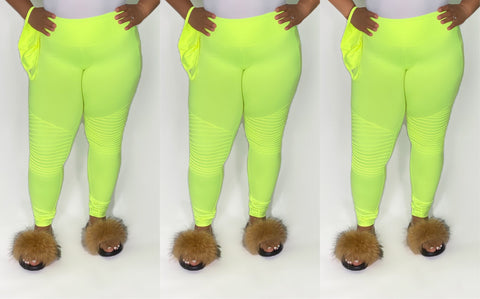 Neon Lime Moto Pants w/Mask