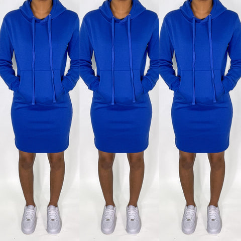 Royal Blue Hoodie Dress