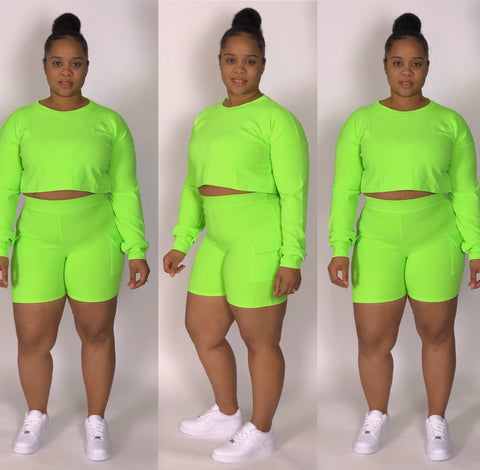 Chill Time Co-ord Set (Neon Green)