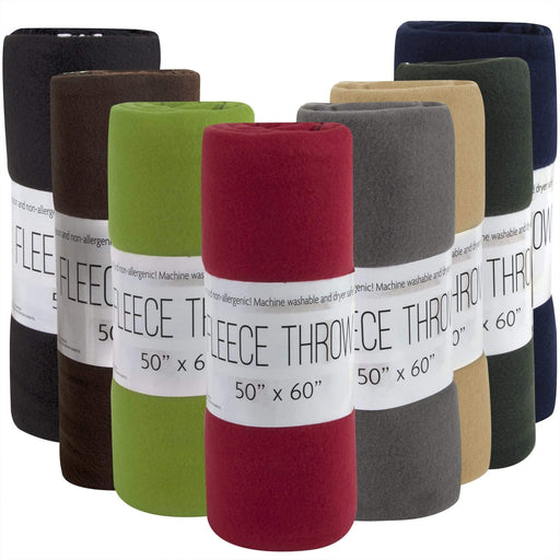 "Wholesale Fleece Blankets 50"" x 60"" - 8 Assorted Colors"