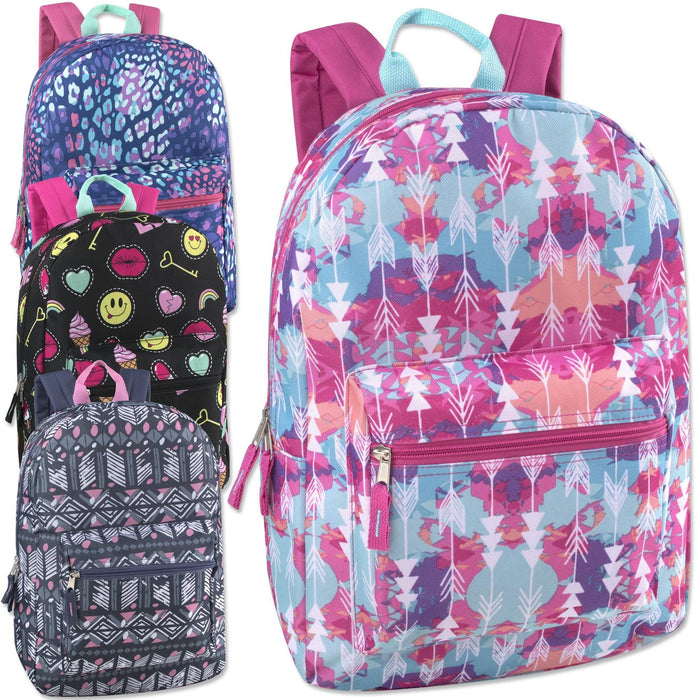 girls wholesale printed backpack in assorted patterns